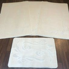 ROMANY GYPSY WASHABLES SETS OF TOURER SIZE 67X110CM MATS-RUGS NEW BOWS CREAM